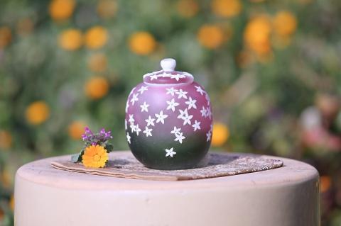 手元供養ガラス骨壷(骨壺)  [かすみ草]の商品画像