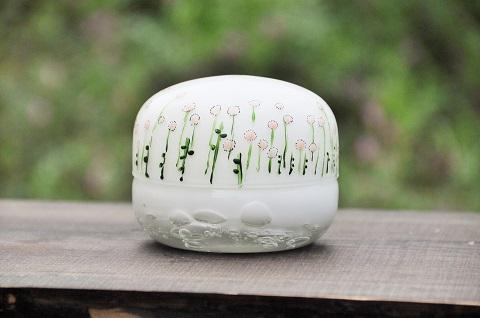 手元供養ガラス骨壷(骨壺)  [白玉干し草]の商品画像