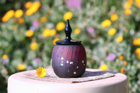 手元供養ガラス骨壷(骨壺)  [夜明け前]の商品画像