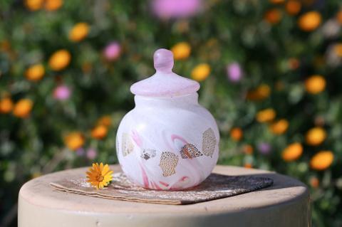 手元供養ガラス骨壷(骨壺)  [桃の木]の商品画像