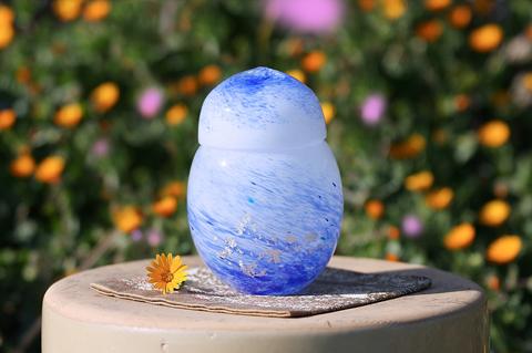 手元供養ガラス骨壷(骨壺)  [波しぶき]の商品画像